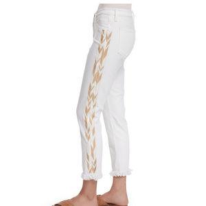 AG Stilt Embroidered White Cropped Fringe Jeans 26